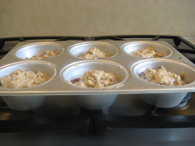 Batter in muffin pan, ready to bake