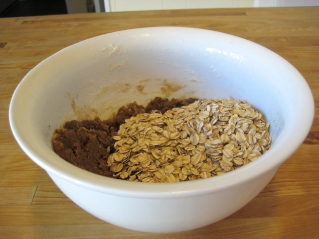 Oats added to bowl