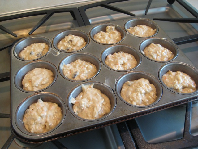 Batter in muffin pan