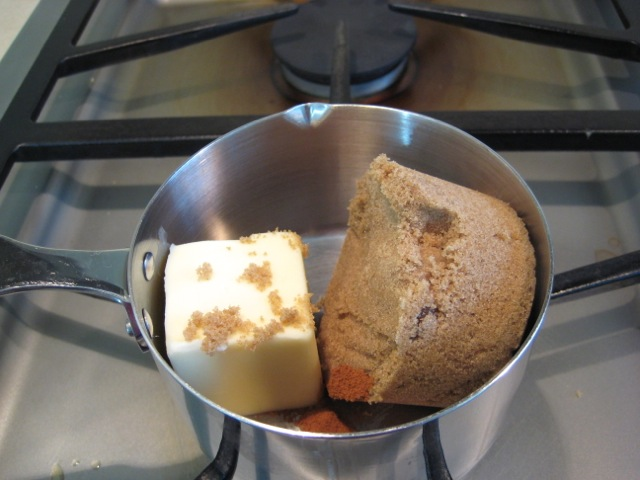 Butter, brown sugar, and spices in small pan