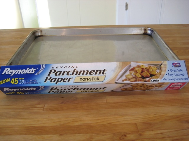 Cookie sheet and parchment paper