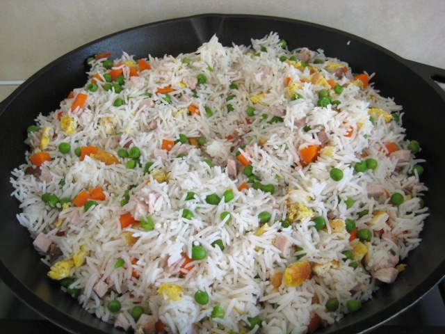 Rice mixture in frying pan