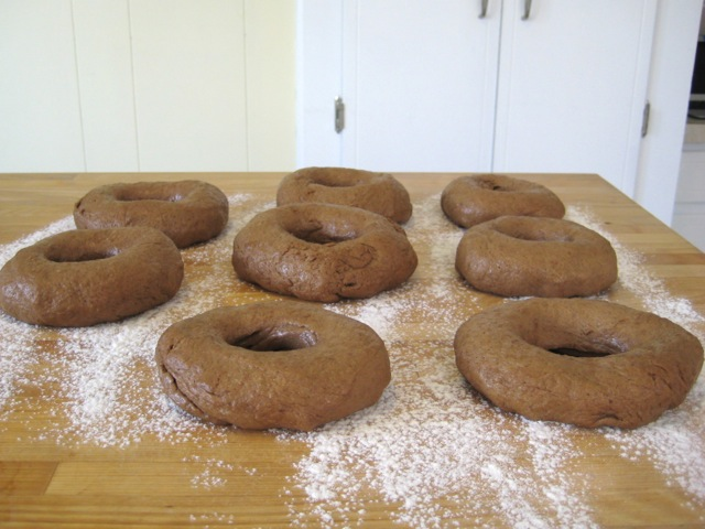 Bagels shaped and ready to rise