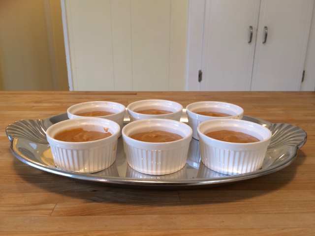 Pumpkin pudding in serving dishes