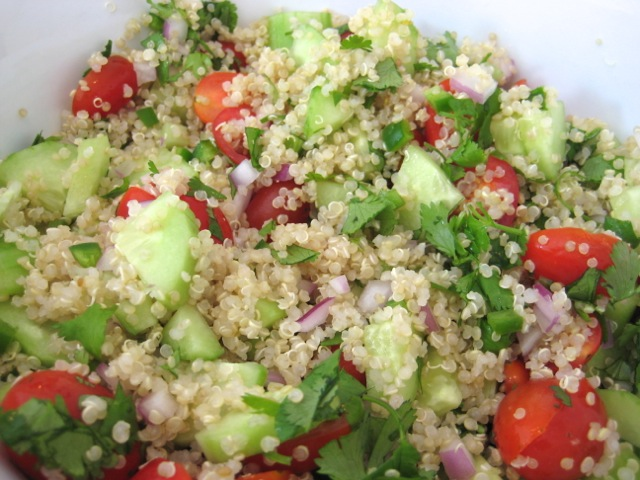 Quinoa and veggies tossed together