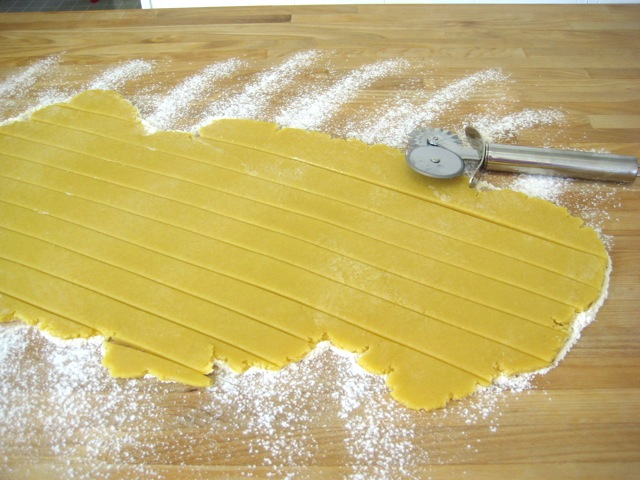 Dough cut into strips