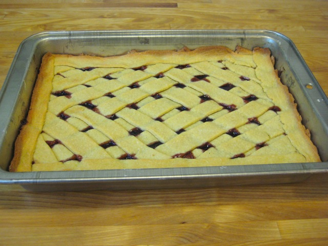 Raspberry squares out of oven