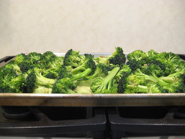 Broccoli on baking sheet, ready to go in oven