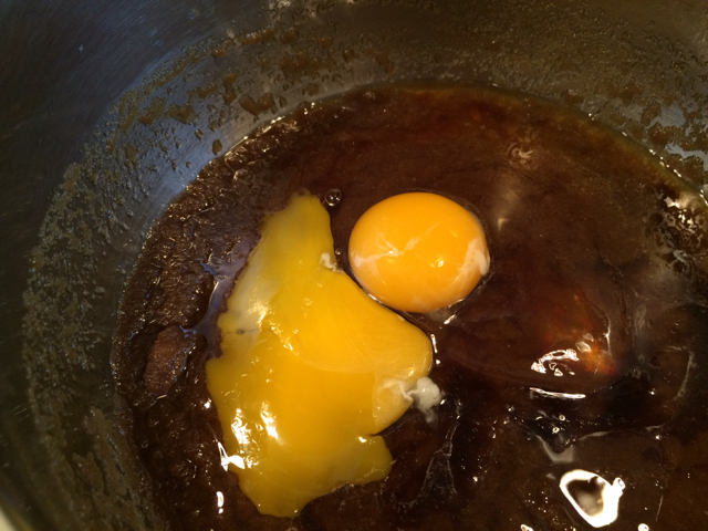 Eggs and vanilla added to saucepan
