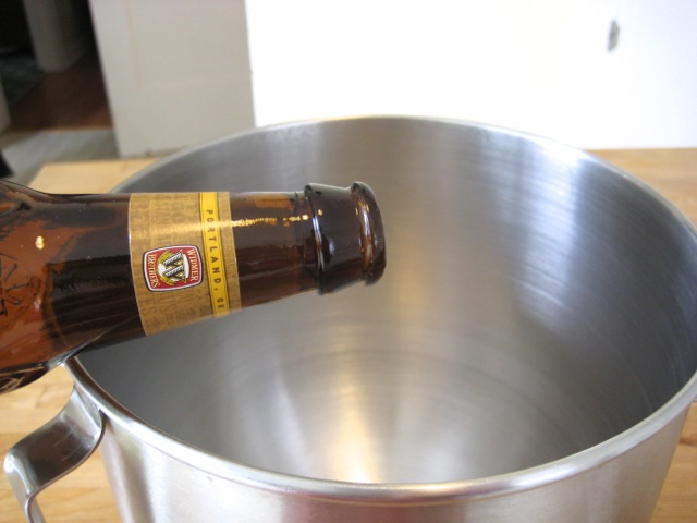 Adding beer to yeast and sugar
