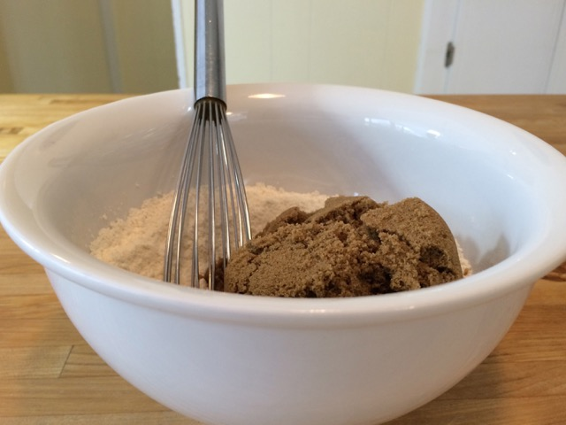 Brown sugar added to bowl