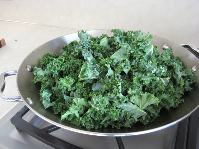 Kale chopped and in wok