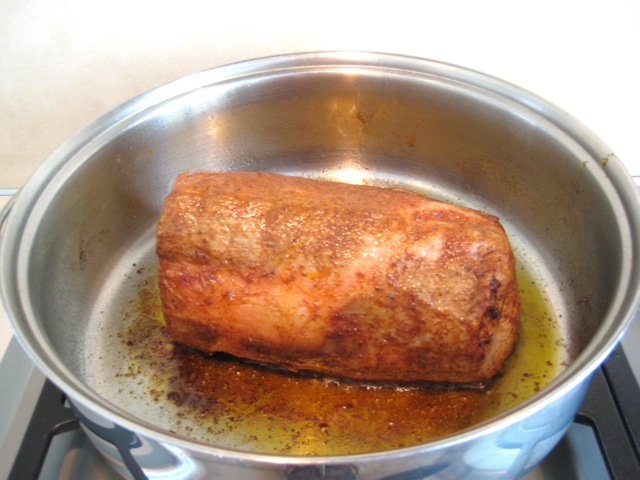 Pork roast browned on all sides
