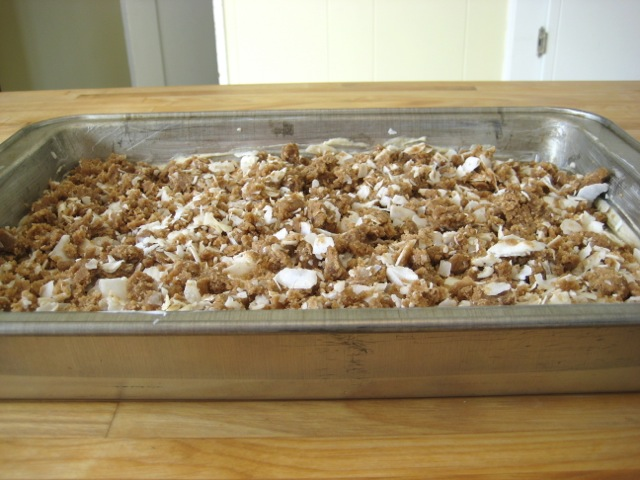 Spiced coffeecake with coconut streusel added, ready to bake