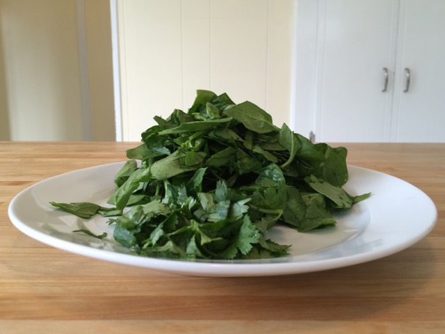 Chopped spinach and cilantro