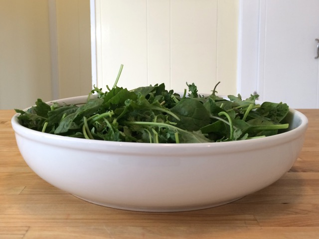 Greens in a bowl, ready for salad dressing
