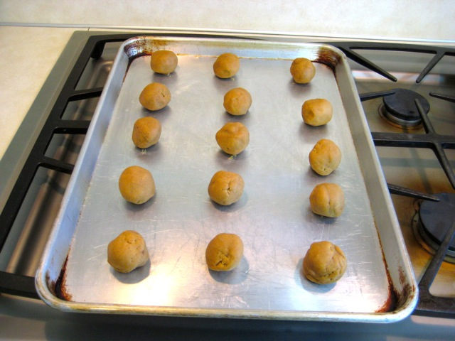 Dough balls on cookie sheet
