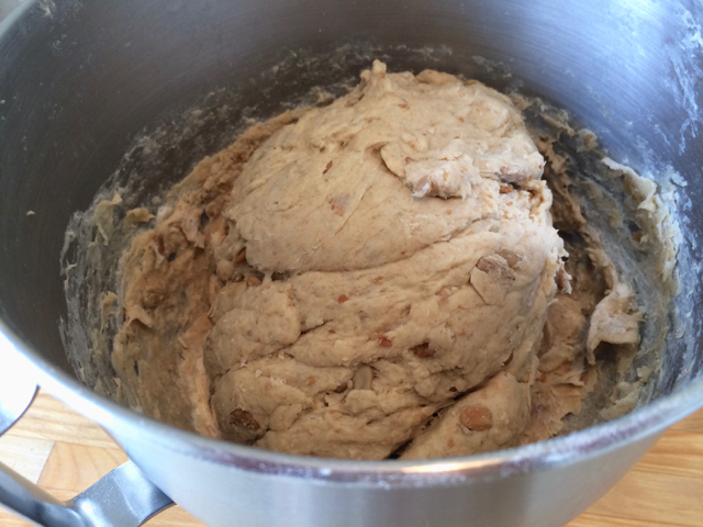 Bread dough mixed