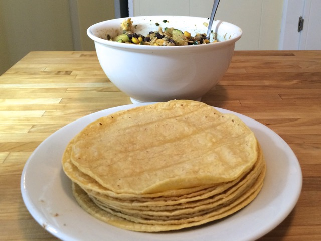 Steamed tortillas and vegetable mix