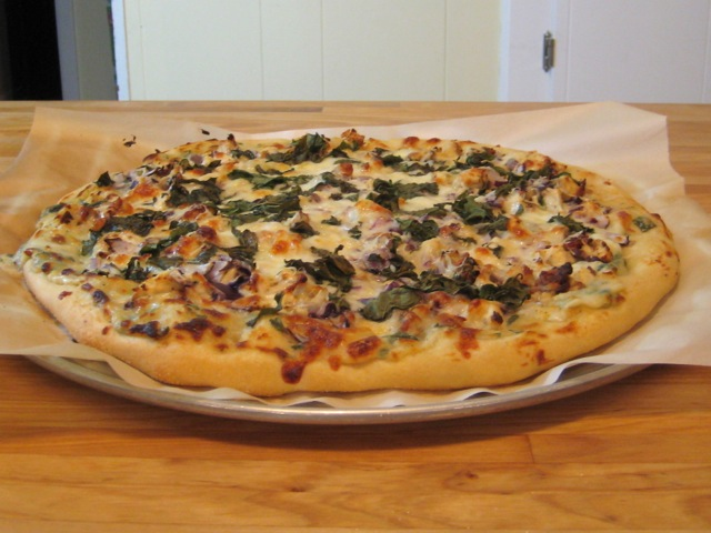 Chicken, Bacon, Garlic, and Basil White Pizza